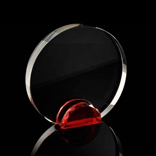 Round crystal frame with red stand